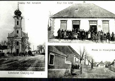 Református templom; Engl-féle üzlet; Posta és Községháza