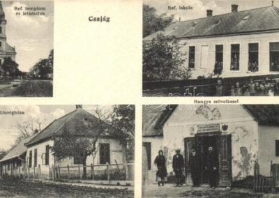 Református templom; Református iskola; Községháza; Hangya szövetkezet